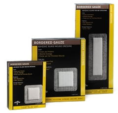 "Bordered Gauze Adhesive Island Wound Dressing, 2"" x 2"" with 1"" x 1"" Pad (Case of 150)"